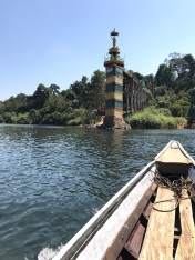 Boating to the temple