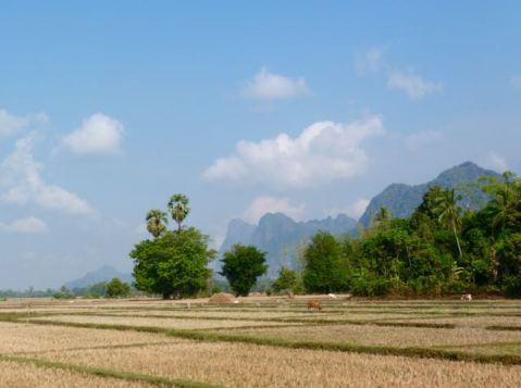 Karst mountains towards the Thai border