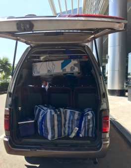 The two-bikeboxes-in-a-van project at Yangon airport